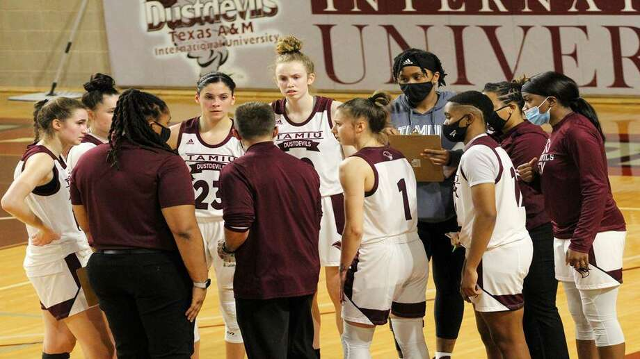 The Texas A&M International women's basketball team won the Lone Star Conference South Division Sunday with a win over UT-Tyler. Photo: Courtesy Of TAMIU Athletics