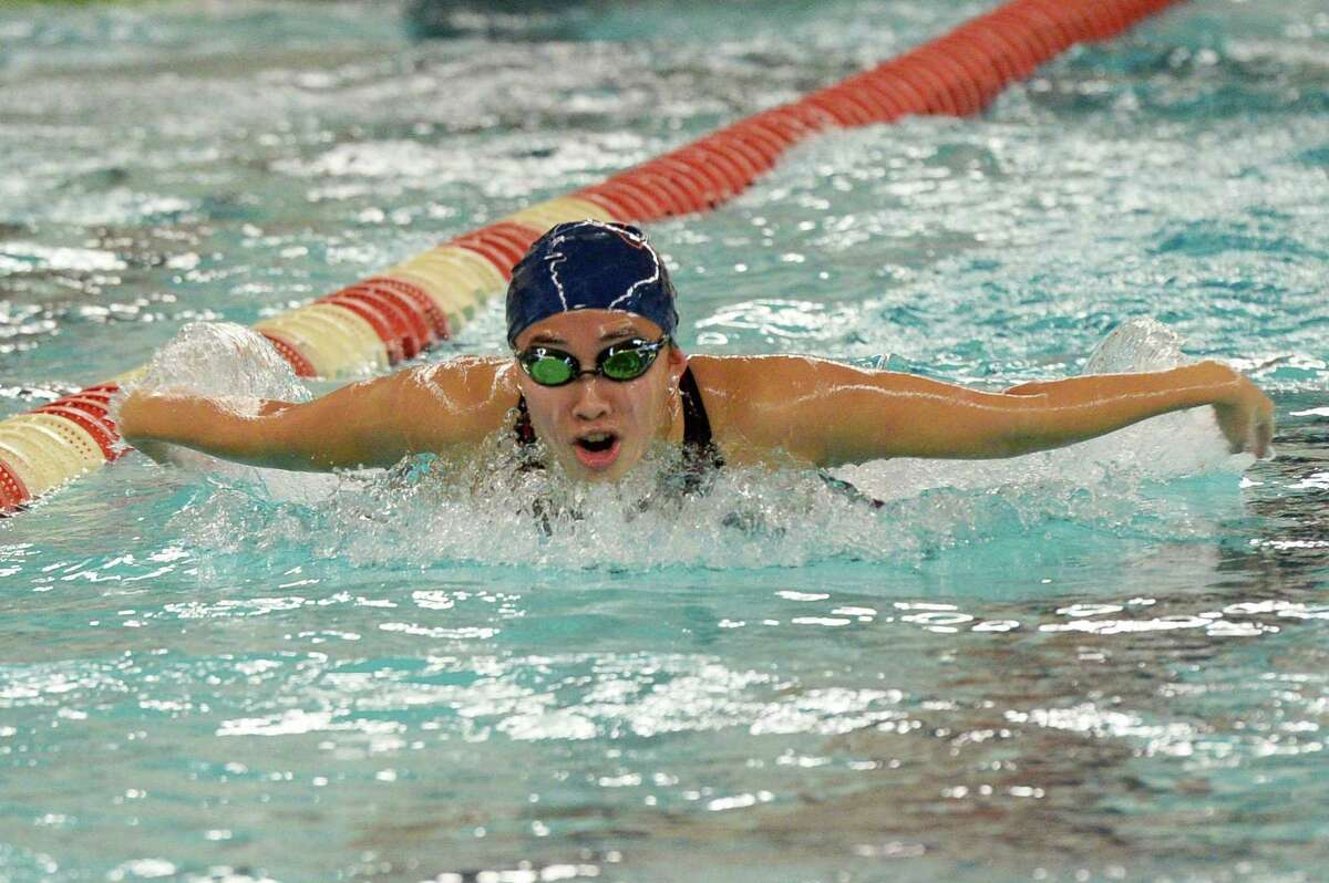 Sarah Lu of Seven Lakes competes in the girls 100 yard butterfly event at the District 19-6A Swimming and Diving Championships on Jan. 18, 2020, at the Katy HS Natatorium in Katy.