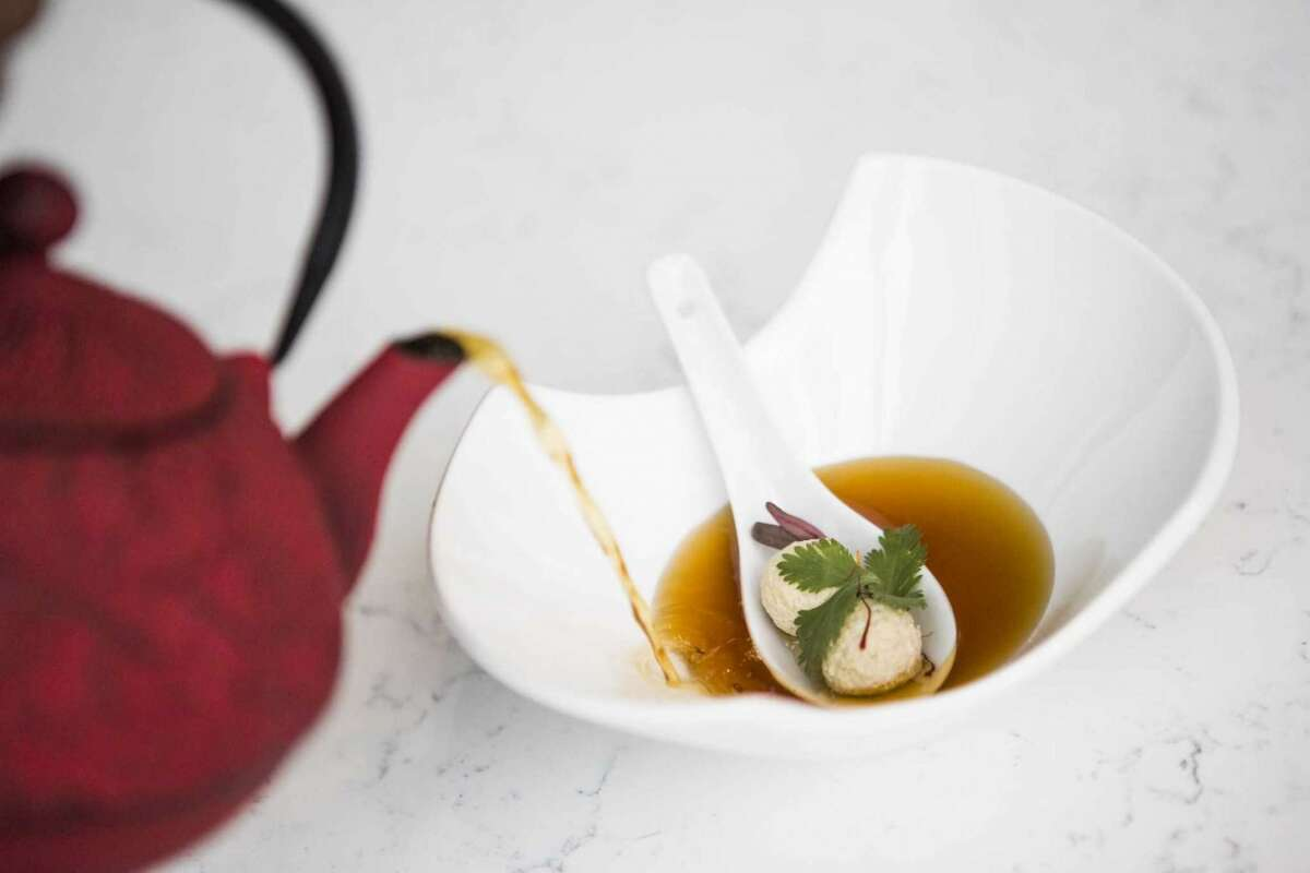 Murgh goli shorba at Verandah combines a chicken consommé with soft dumplings for a delicious contrast of flavors.