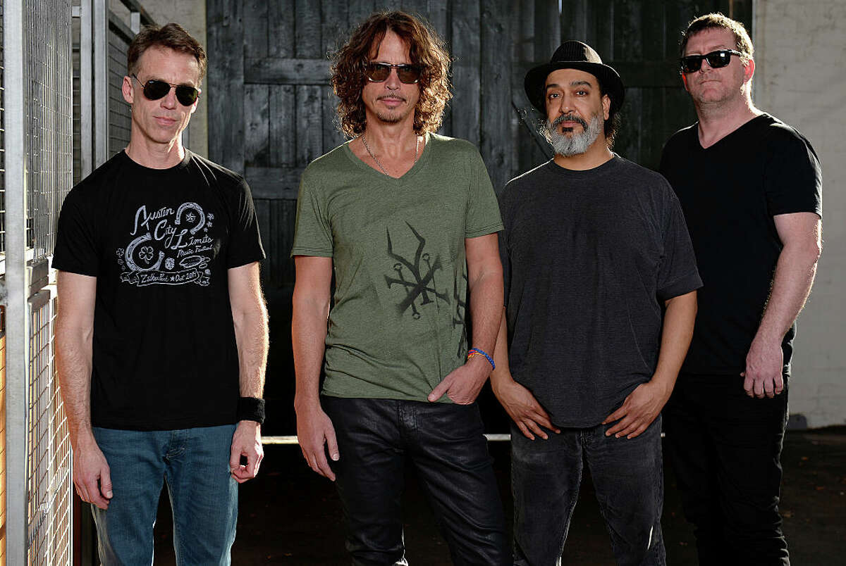 MELBOURNE, AUSTRALIA - FEBRUARY 22: Soundgarden pose for portraits at the Soundwave Festival at Melbourne showgrounds on Sunday the 22nd of February 2015 in Melbourne, Australia. L-R Matt Cameron, Chris Cornell, Kim Thayil, Ben Shepherd. (Photo by Martin Philbey/Redferns)