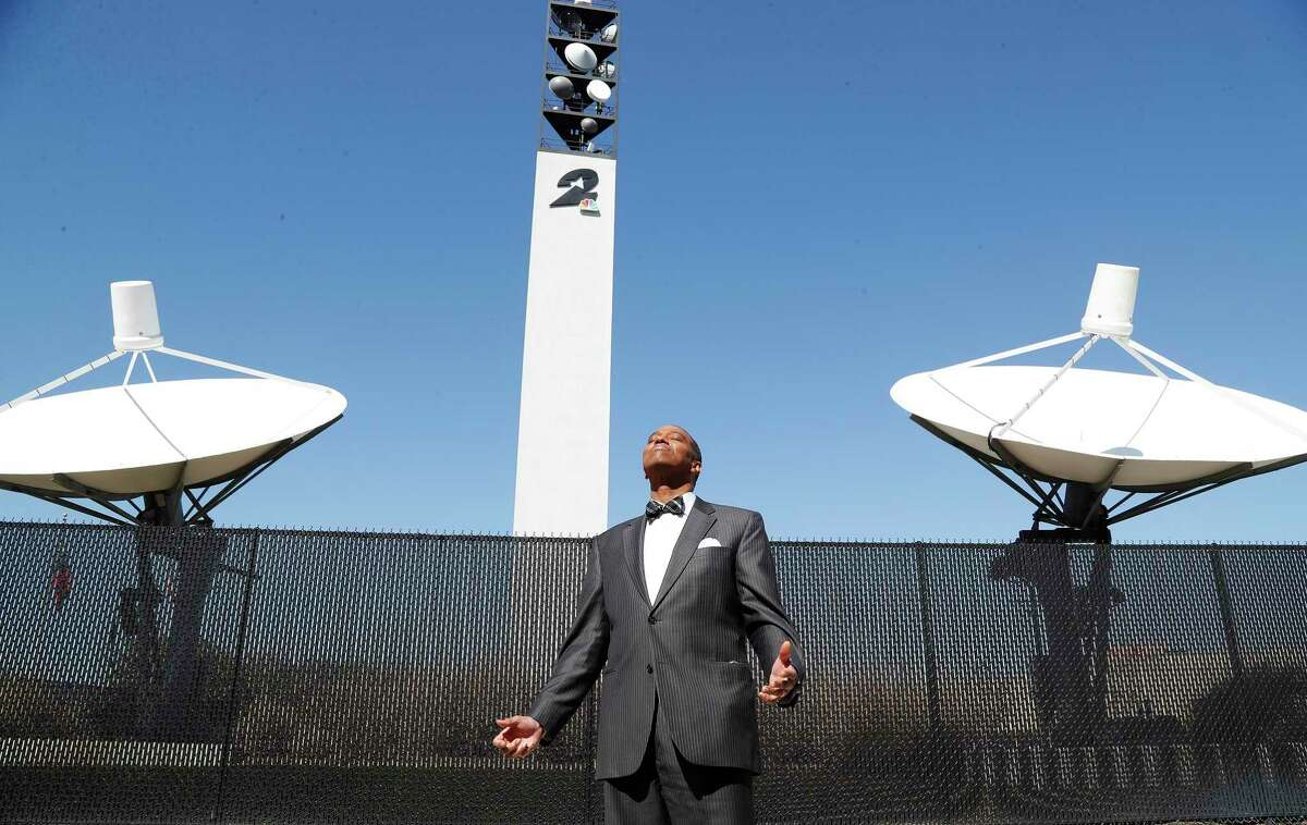 KPRC Meteorologist Khambrell Marshall enjoys the feel of sunshine on his face outside of the station, in Houston, Friday, February 19, 2021. Story on on how he and other meteorologists fared this week and, more broadly, how years of prolonged/unpredictable disasters have affected their work. after a winter storm left people without power and water along with freezing temperatures.