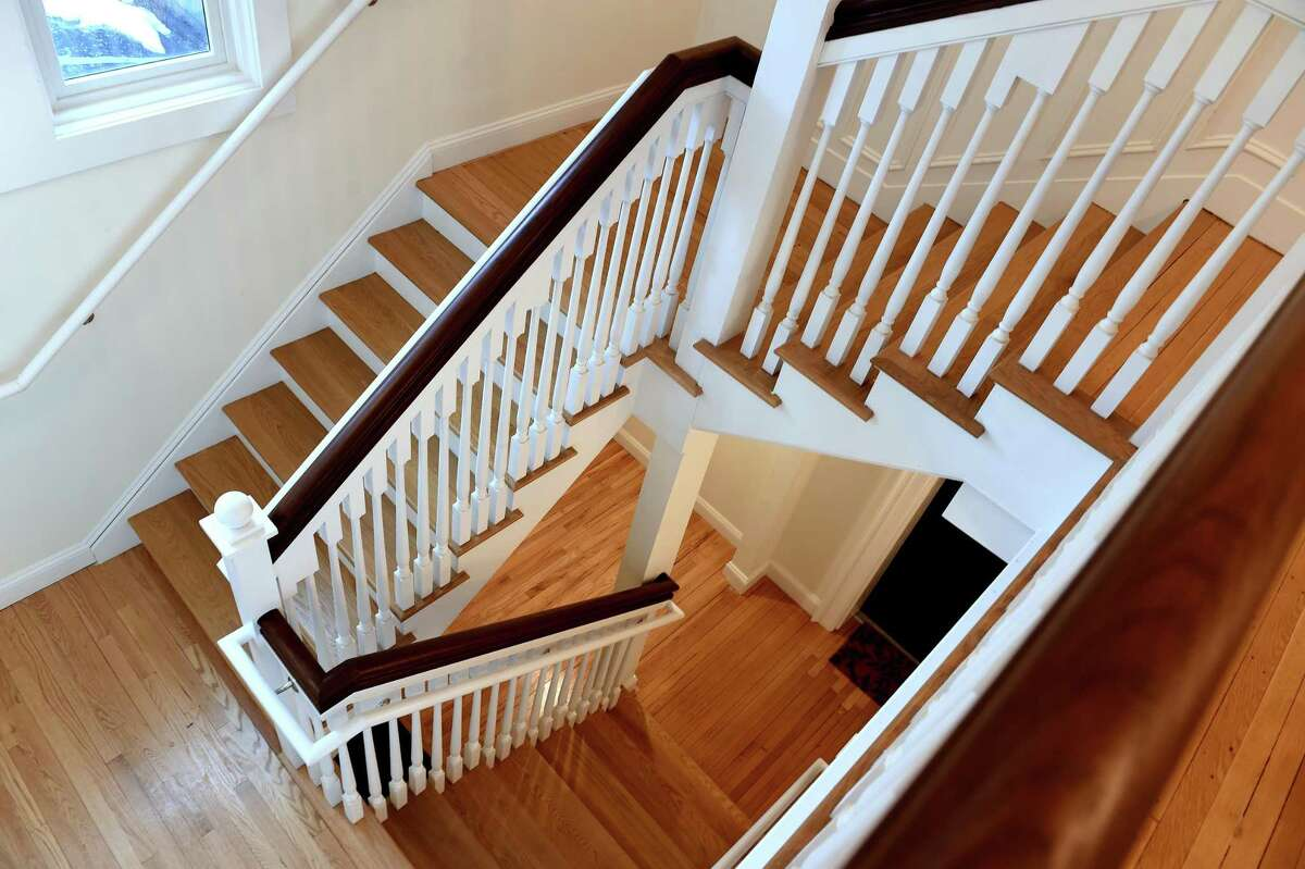 A reconstructed staircase in the Abner Hendee home that is one of the buildings in the Whitney Modern apartment community in New Haven on February 22, 2021. The Abner Hendee House Now called