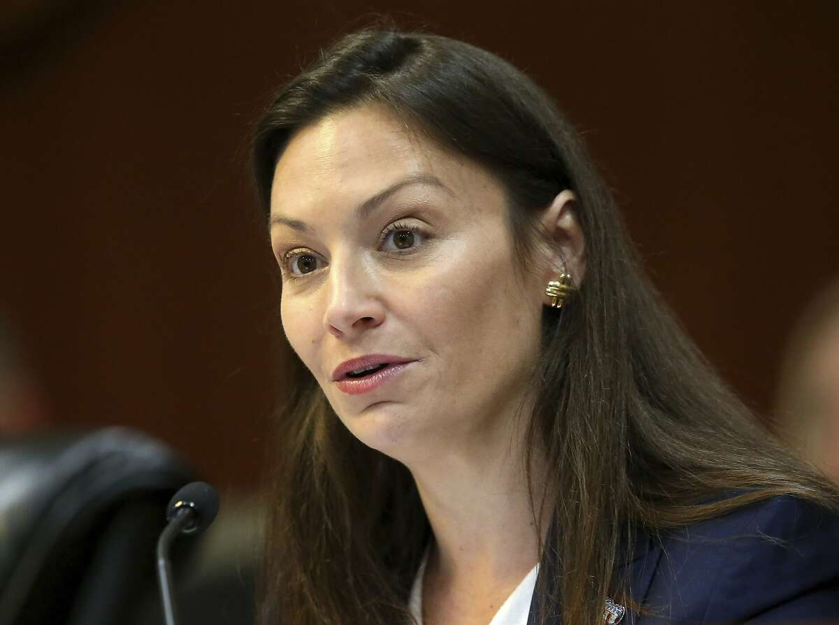 FILE - In this June 4, 2019 file photo, Commissioner of Agriculture Nikki Fried, speaks during a meeting of the Florida cabinet, in Tallahassee, Fla. In a possible prelude to Florida's upcoming gubernatorial campaign, Fried, the state's only Democrat holding statewide office is taking a shot at Gov. Ron DeSantis in a campaign-style video released Tuesday, Feb. 16, 2021, that casts the Republican as unempathetic amid a deadly pandemic and beholden to former President Donald Trump (AP Photo/Steve Cannon, File)