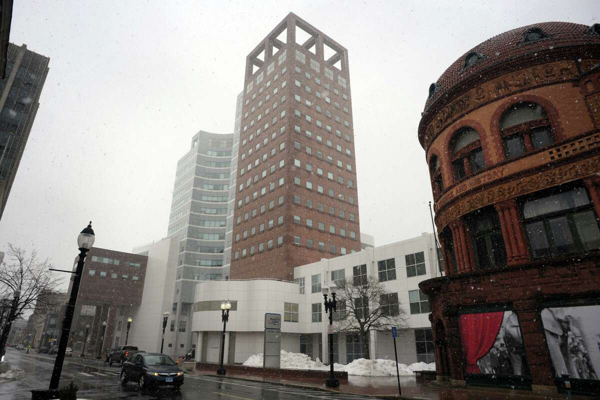 The People's United Bank headquarters in downtown Bridgeport, Conn. Feb. 22, 2021.