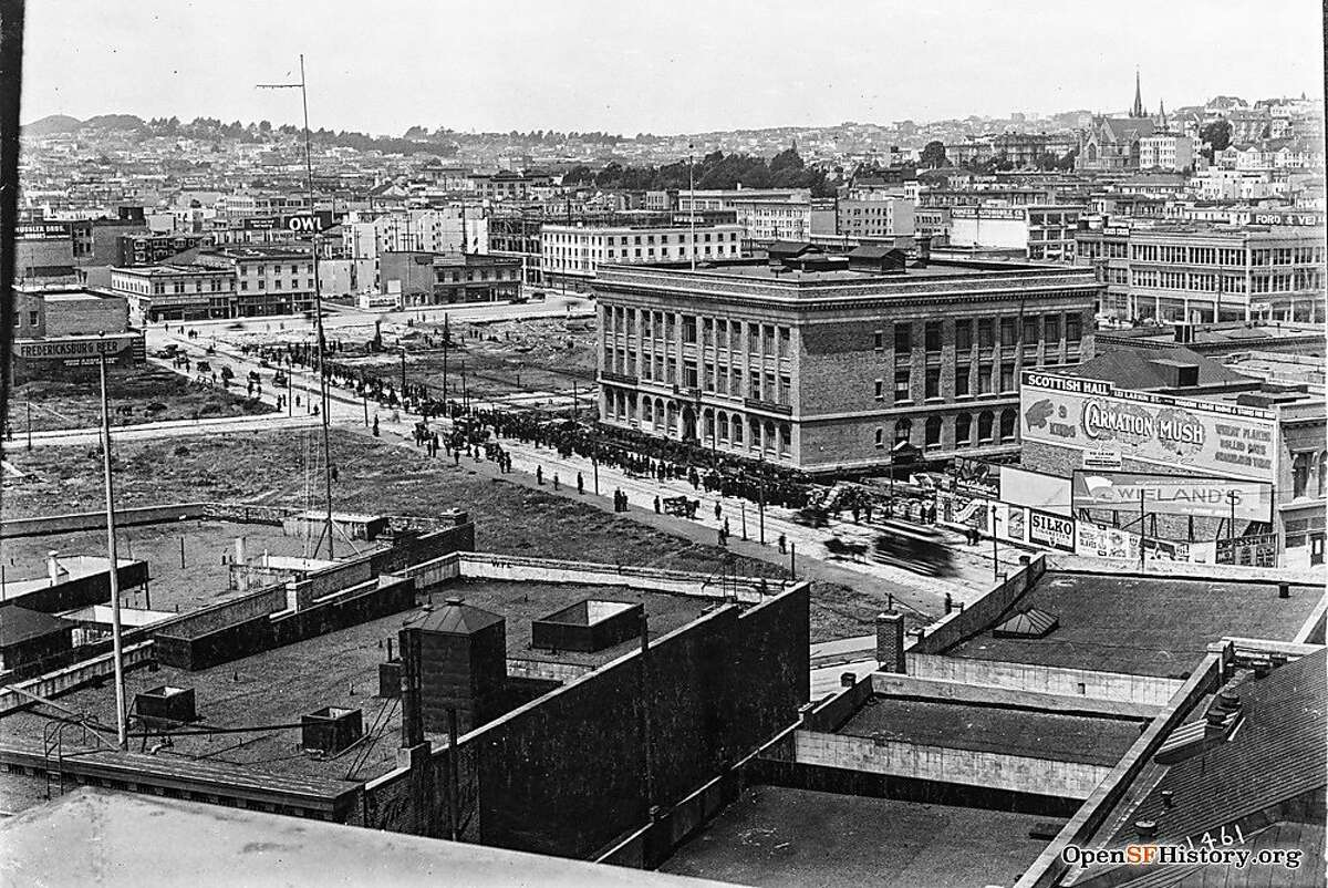 Commerce High School was moved four blocks in 1913 from Grove Street to a new home on Fell Street.