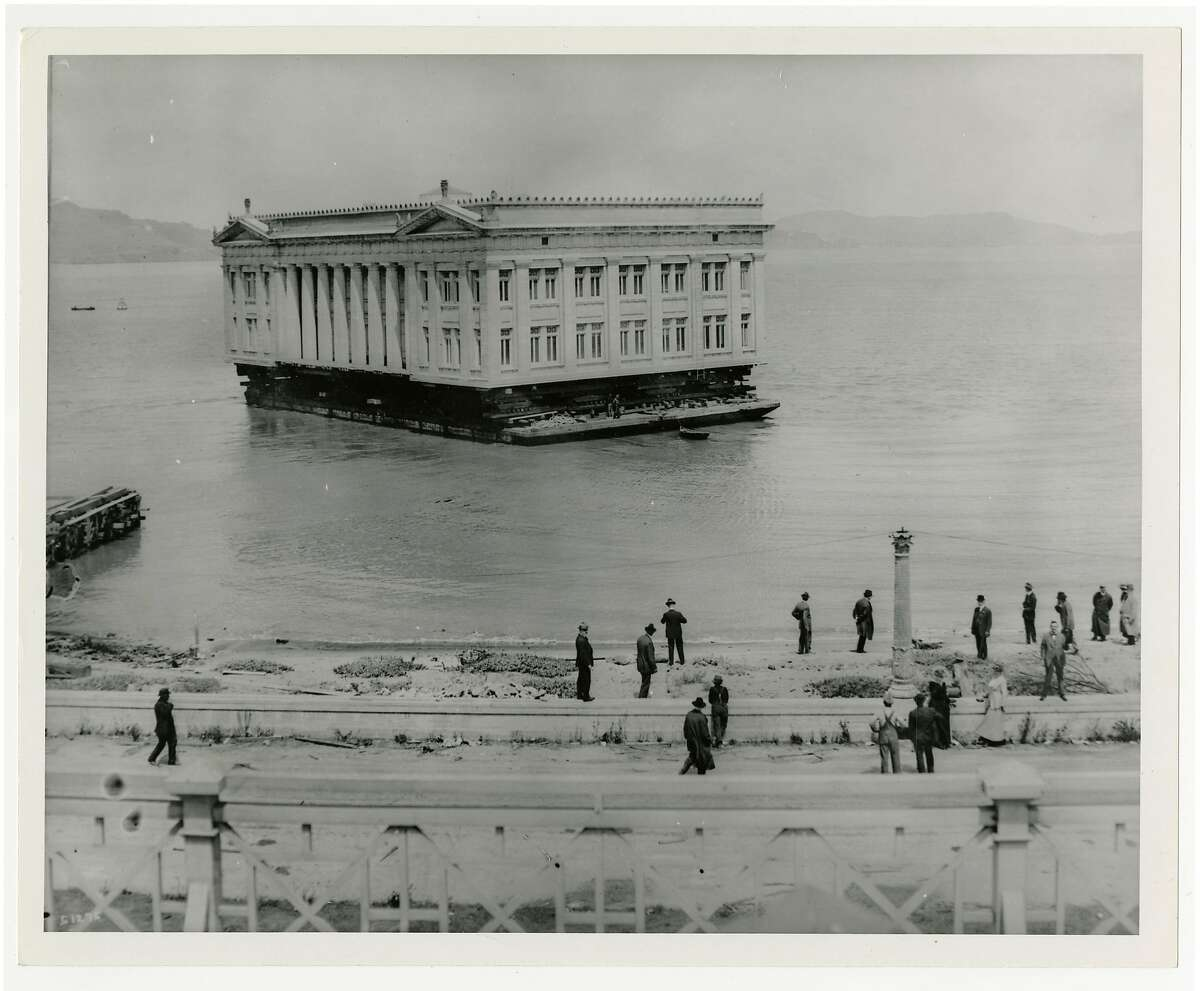 The Ohio Building gets shipped on a barge in 1915.