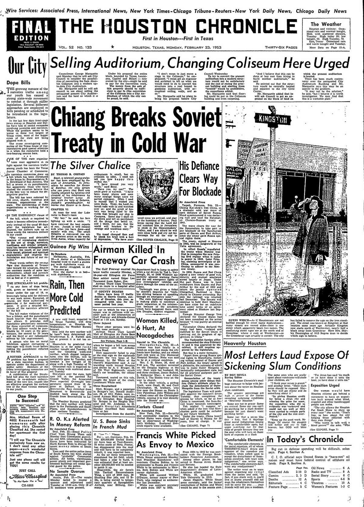 Houston Chronicle front page for Feb. 23, 1953.