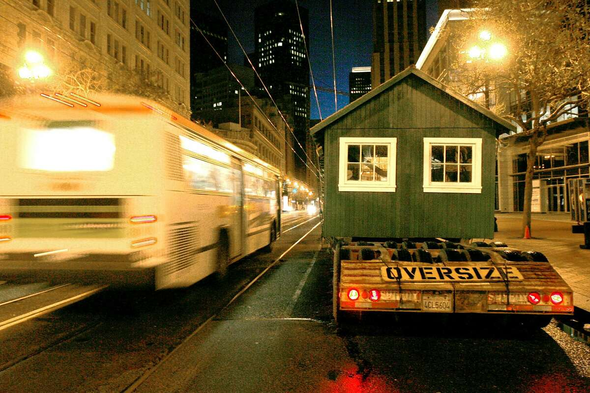 An earthquake refugee shack moves to Market Street in San Francisco in 2006.