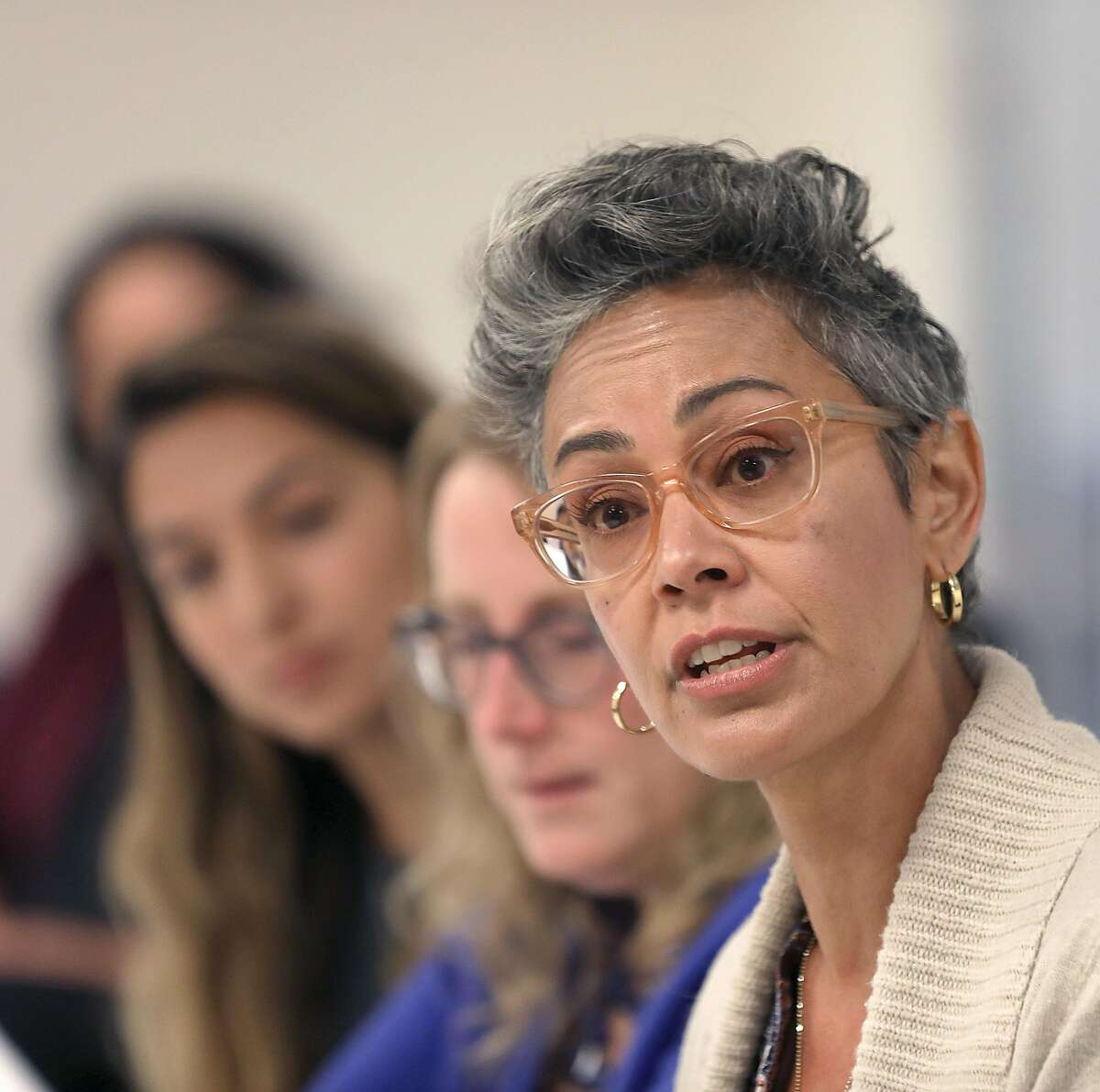 Candidate Alison Collins (right) running for the Board of Education speaks to the San Francisco Chronicle during an editorial board meeting on Wednesday, Sept. 26, 2018, in San Francisco, Calif.