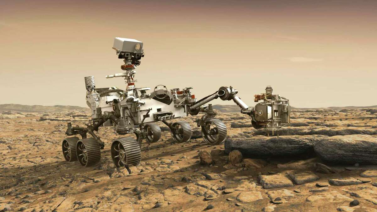 An illustration depicts the Perseverance rover studying a Mars rock outrcrop.