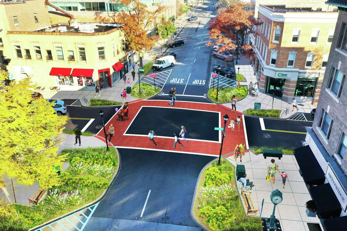 A rendering shows what the proposed intersection improvement at Greenwich Avenue and Elm Street will look like. Space would for more greenery and provide a shorter walk for pedestrians, but some residents are concerned about the plan removal of a tree near the intersection.