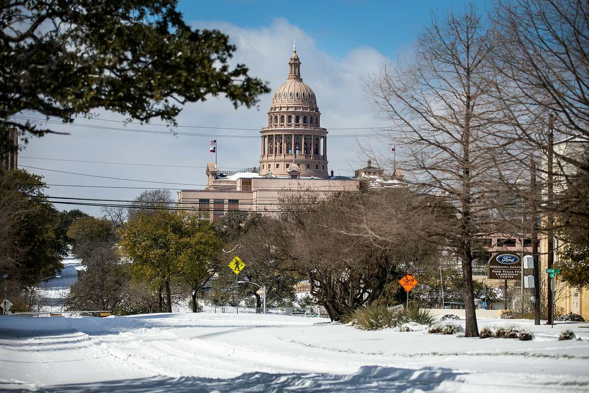 The Texas Capitol is surrounded by snow in on February 15, 2021 in Austin, Texas.