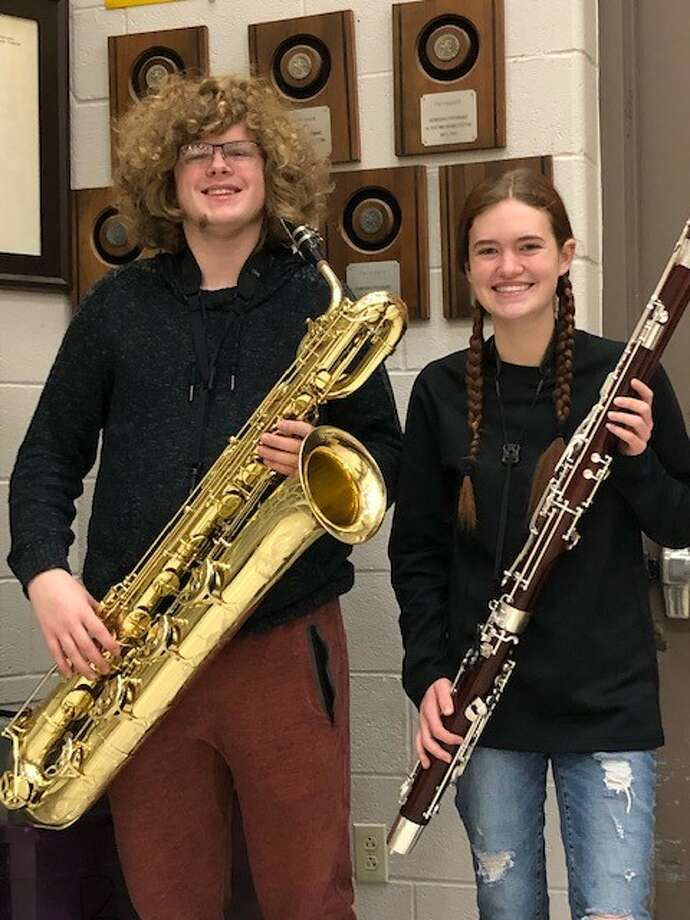Midland High senior Coby Mount and junior Ryleigh Kitch earned placement on the all-state band. Photo: Courtesy Of Midland ISD