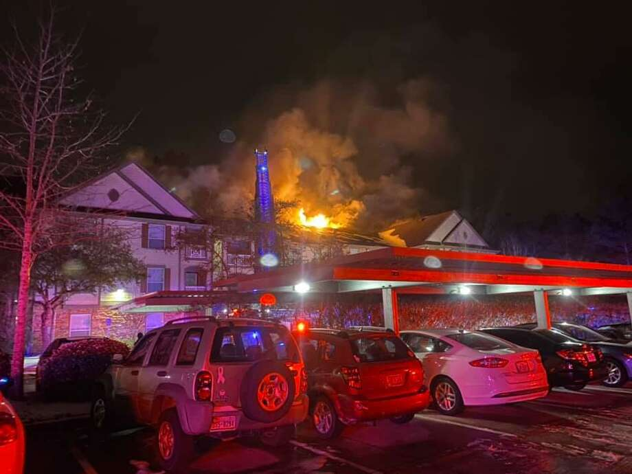 The Woodlands Fire Department responded to a large fire at the Avana at Sterling Ridge apartment complex, located at 6900 Lake Woodlands, following  the Feb. 14 winter storm,. Officials said 28 apartments were damaged and 50 people were displaced in the blaze. Photo: Courtesy Of The Montgomery County Fire Marshal's Office