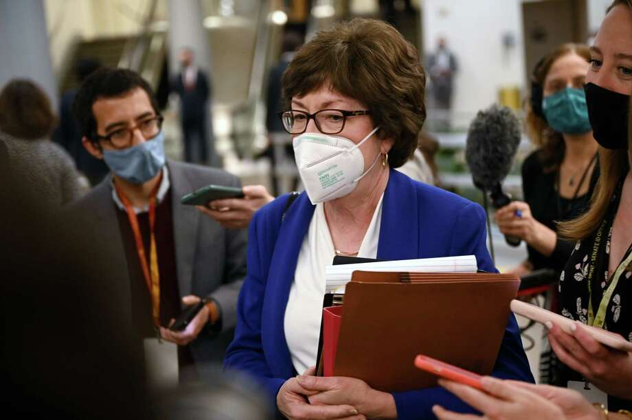 Sen. Susan Collins, R-Maine, talks with reporters on Feb. 11, 2021. Photo: Washington Post Photo By Katherine Frey / The Washington Post