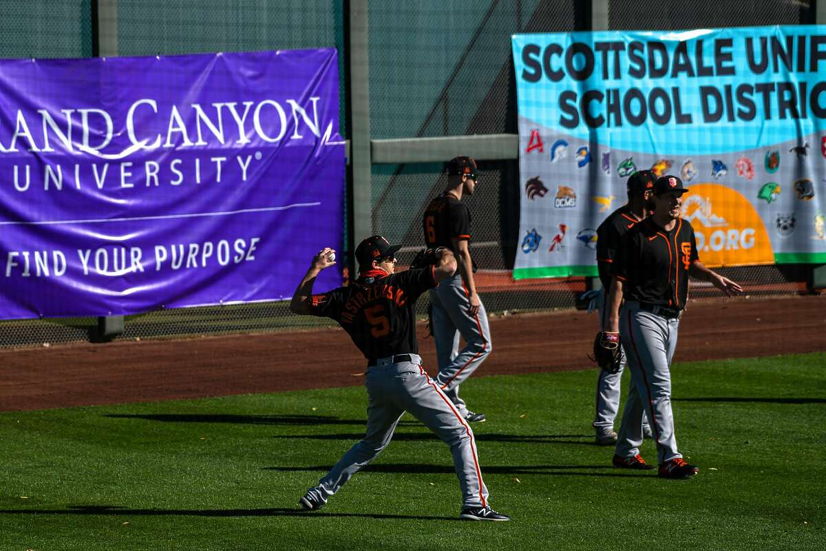 San Francisco Giants practice at Scottsdale stadium before opening day of Spring Training in the Cactus League, on Monday, Feb. 22, 2021, in Scottsdale, Ariz..