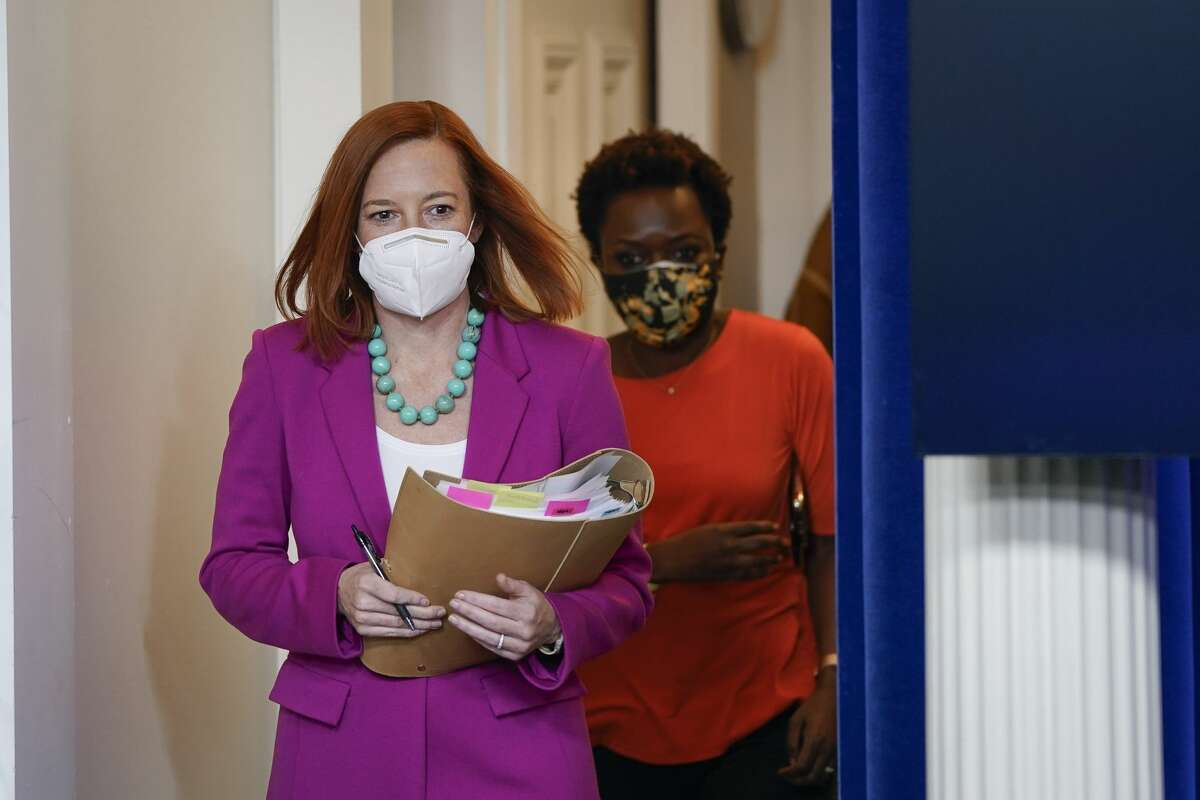 WASHINGTON, DC - JANUARY 28: White House Press Secretary Jen Psaki arrives for a daily press briefing at the White House on January 28, 2021 in Washington, DC. President Joe Biden signed a series of executive actions Thursday afternoon aimed at expanding access to health care, including re-opening enrollment for health care offered through the federal marketplace created under the Affordable Care Act. (Photo by Drew Angerer/Getty Images)
