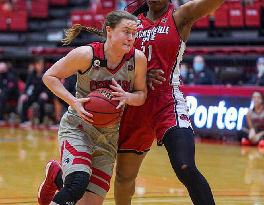 SIUE's Allie Troeckler, a senior from Bethalto, drives on a Jacksonville State defender Monday at First Community Arena in Edwardsville. Photo: SIUE Athletics