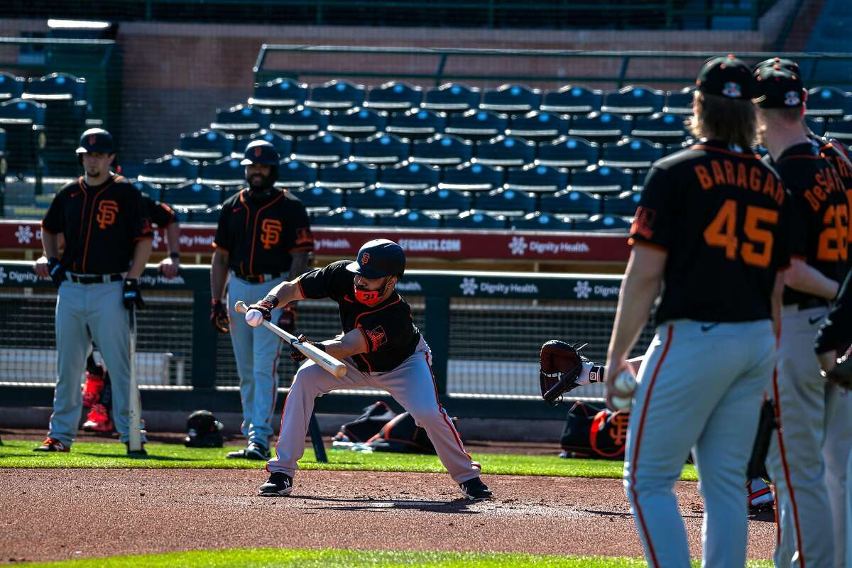 Outfielder LaMonte Wade Jr 31 bunts at the first San Francisco Giants practice at Scottsdale stadium before opening day of Spring Training in the Cactus League, on Monday, Feb. 22, 2021, in Scottsdale, Ariz..