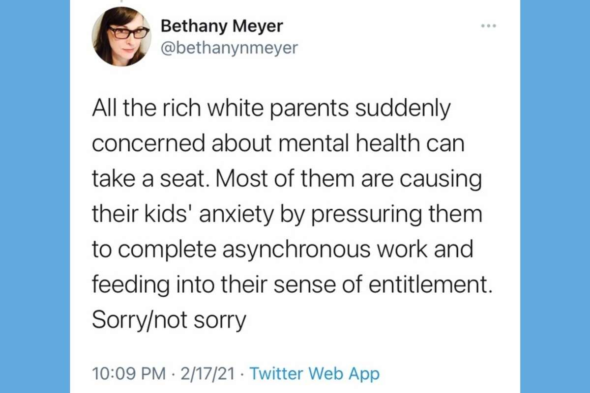 Oakland teacher and Secretary of the Oakland Education Association Bethany Meyer tweeted the above message on Feb. 17, 2021. It was later deleted.