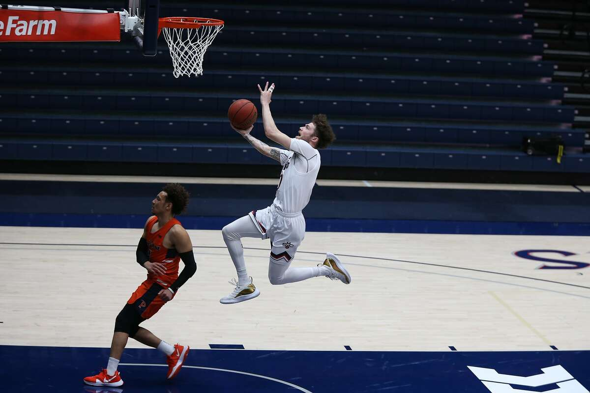 St. Mary's guard Logan Johnson drives to the hoop against Pepperdine. Johnson scored a team-high 19 points.
