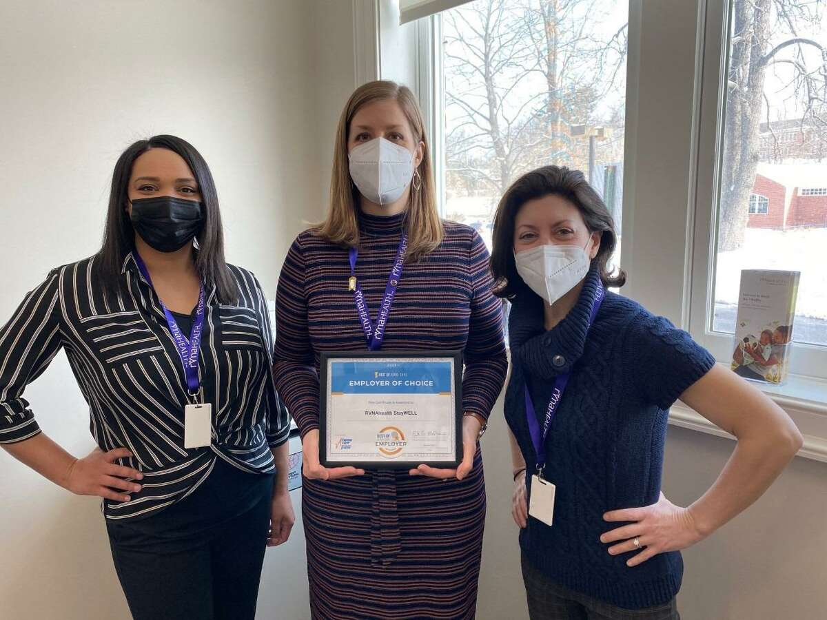 Jessica Spears, Melissa Woodhouse and Danielle Taibi of RVNAhealth StayWELL Services with their most recent award.