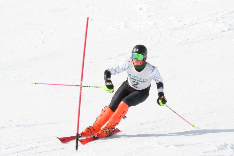 Kylar Thomas shows off his speed in the slalom on Feb. 24. (News Advocate file photo)