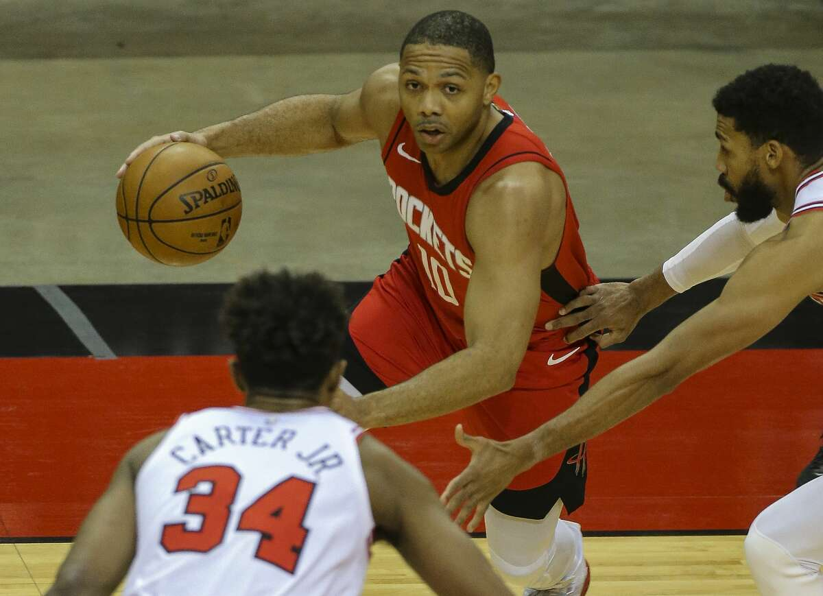 Houston Rockets guard Eric Gordon (10) dribbles during the first quarter of a NBA game against the Chicago Bulls Monday, Feb. 22, 2021, at Toyota Center in Houston.