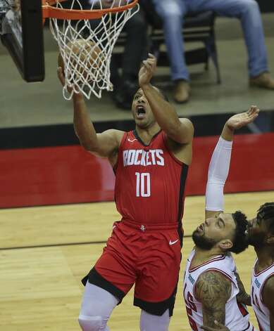 Houston Rockets guard Eric Gordon (10) goes for a lay up during the first quarter of a NBA game against the Chicago Bulls Monday, Feb. 22, 2021, at Toyota Center in Houston. Photo: Yi-Chin Lee/Staff Photographer / © 2021 Houston Chronicle