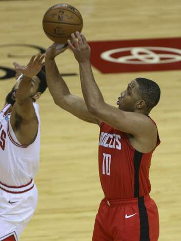 Houston Rockets guard Eric Gordon (10) aims for the basket during the first quarter of a NBA game against the Chicago Bulls Monday, Feb. 22, 2021, at Toyota Center in Houston. Photo: Yi-Chin Lee/Staff Photographer / © 2021 Houston Chronicle