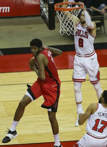 Houston Rockets center Justin Patton (26) grabs a rebound against the Chicago Bulls during the thid quarter of a NBA game Monday, Feb. 22, 2021, at Toyota Center in Houston. Photo: Yi-Chin Lee/Staff Photographer / © 2021 Houston Chronicle