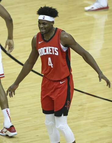 Houston Rockets forward Danuel House Jr. (4) smiles after scoring a three point basket during the second quarter of a NBA game against the Chicago Bulls Monday, Feb. 22, 2021, at Toyota Center in Houston. Photo: Yi-Chin Lee/Staff Photographer / © 2021 Houston Chronicle