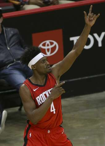 Houston Rockets forward Danuel House Jr. (4) celebrates his three point basket during the thid quarter of a NBA game against the Chicago Bulls Monday, Feb. 22, 2021, at Toyota Center in Houston. Photo: Yi-Chin Lee/Staff Photographer / © 2021 Houston Chronicle