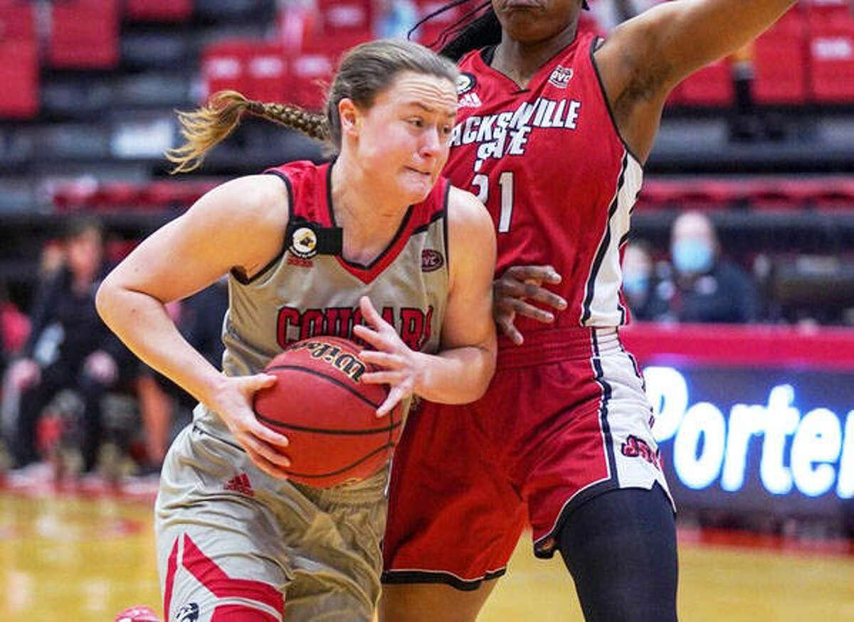 SIUE senior forward Allie Troeckler drives to the basket against Jacksonville State on Monday in Edwardsville.