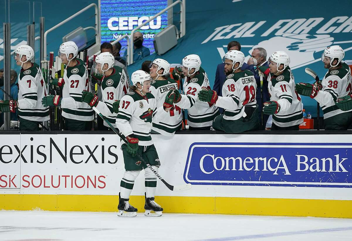 Wild left wing Kirill Kaprizov is congratulated after scoring in the first period against San Jose at the Shark Tank. Kaprizov also had an assist as Minnesota won its third straight game.