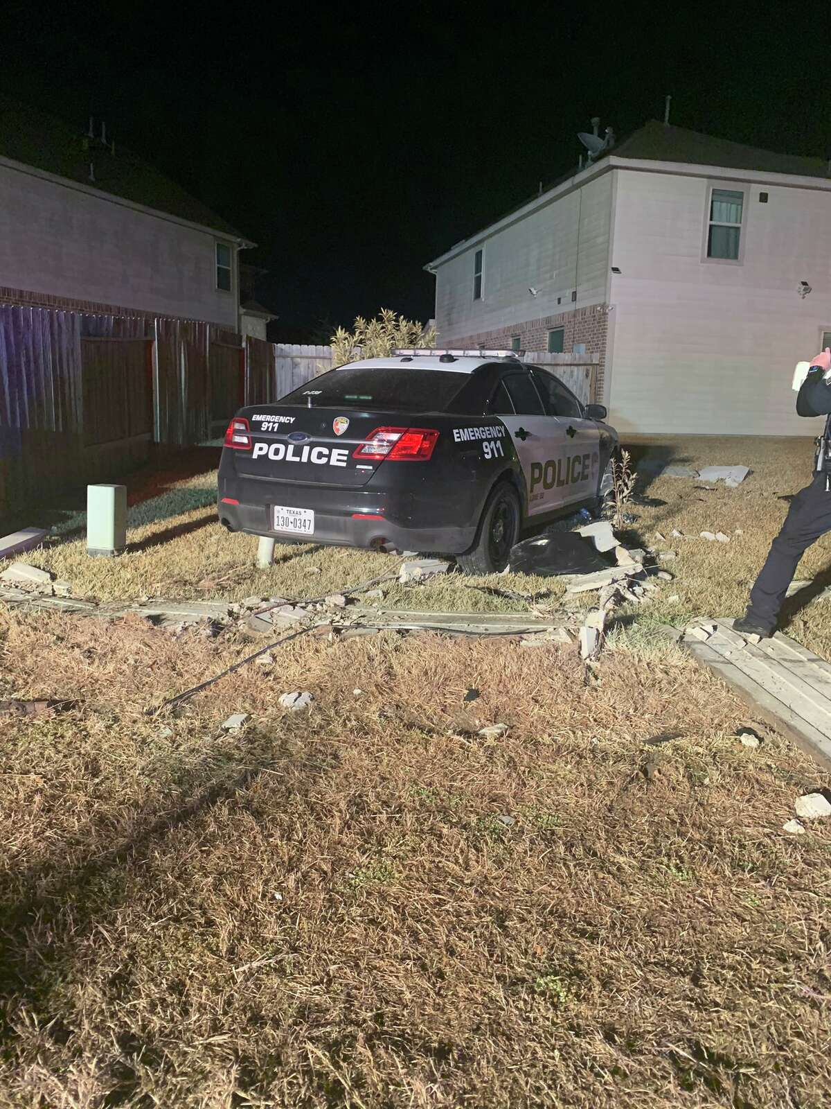 An Aldine ISD police unit was rammed by another driver, according to the Harris County Precinct 1 Constable's Office.