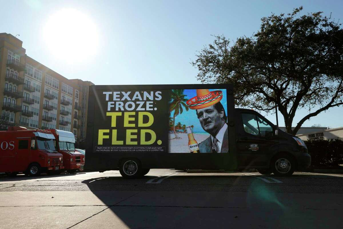 HOUSTON, TEXAS - FEBRUARY 19: A digital billboard truck with an image of U.S. Sen. Ted Cruz (R-TX) sits in a parking lot near Senator Cruz's home on February 19, 2021 in Houston, Texas. Ted Cruz is facing criticism after he left Texas to go to Cancun, Mexico with his family during an unprecedented winter storm that brought freezing temperatures and widespread power outages throughout the state. (Photo by Justin Sullivan/Getty Images)