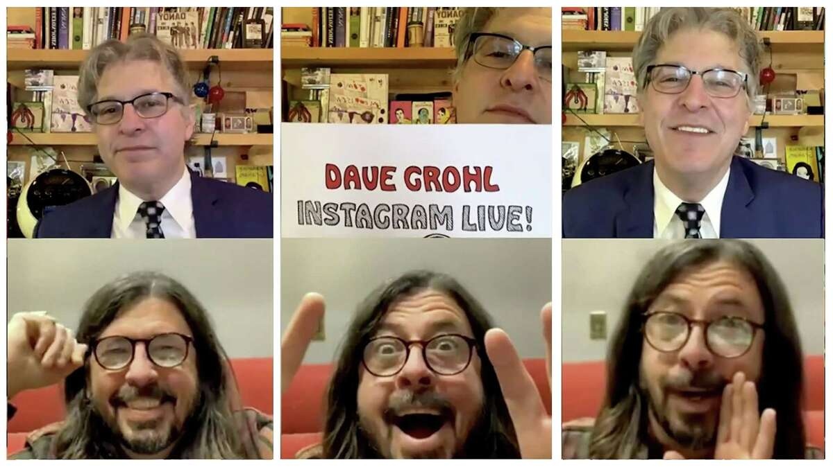 Geoff Edgers and Dave Grohl on Feb. 5 in Edgers's weekly Instagram Live show