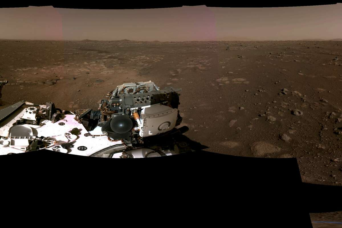 Pictured is the left portion of a panorama taken on Feb. 20, 2021, by NASA's Perseverance Mars rover. Continue through the slideshow to see the other portions of the panorama, which was stitched together from six individual images after they were sent back to Earth.