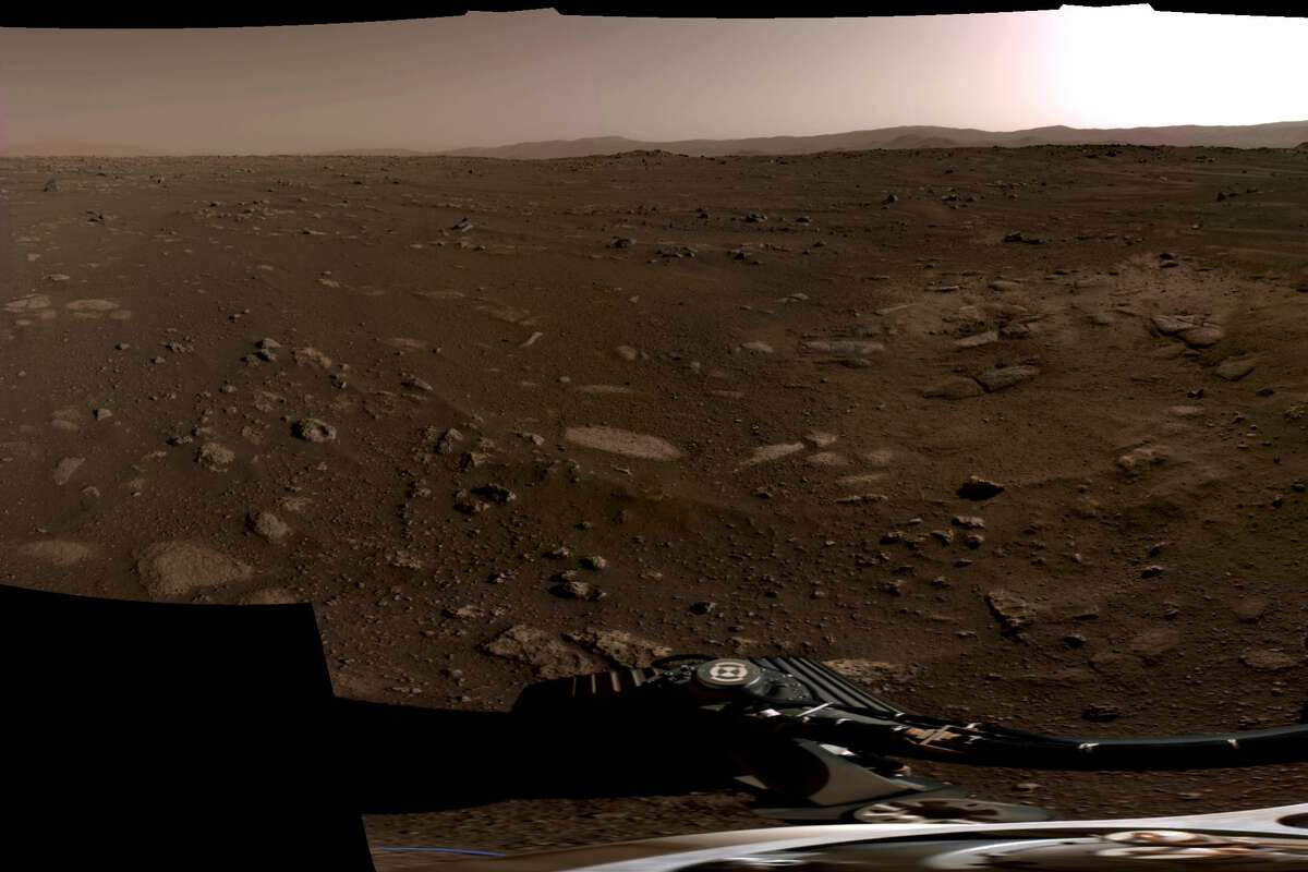 Pictured is the center portion of a panorama taken on Feb. 20, 2021, by NASA's Perseverance Mars rover. This panoramawas stitched together from six individual images after they were sent back to Earth.