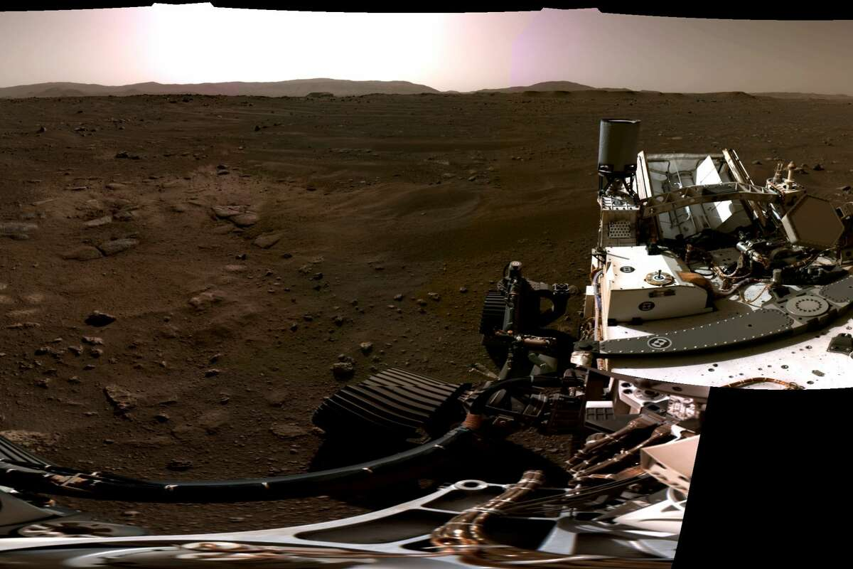 Pictured is the right portion of a panorama taken on Feb. 20, 2021, by NASA's Perseverance Mars rover. This panorama was stitched together from six individual images after they were sent back to Earth.