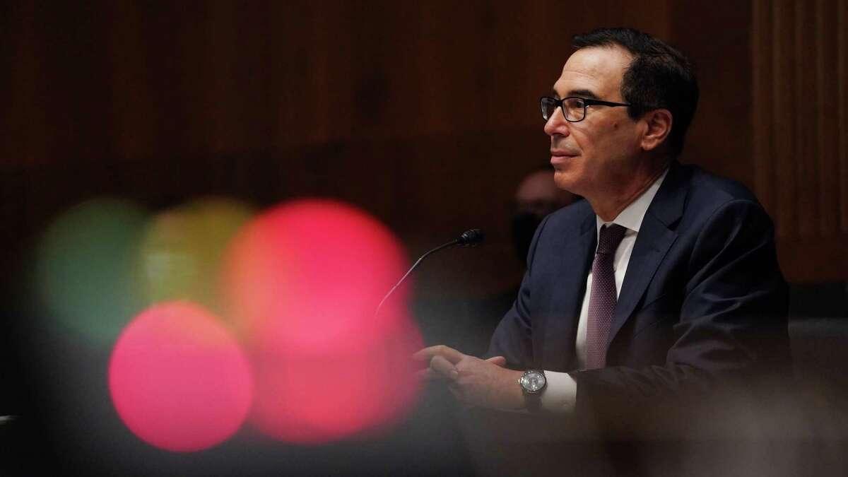 Treasury Secretary Steven Mnuchin speaks at a Senate Banking Committee on Sept. 24.