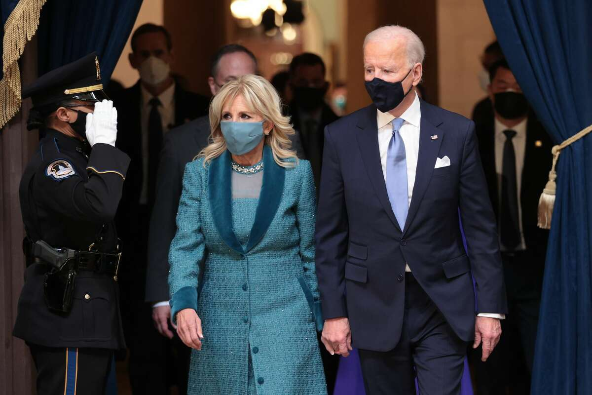 U.S. President Joe Biden and First Lady Dr. Jill Biden attend the presentation of gifts ceremony in the Capitol Rotunda after Biden's inauguration on the West Front of the U.S. Capitol on January 20, 2021 in Washington, DC.