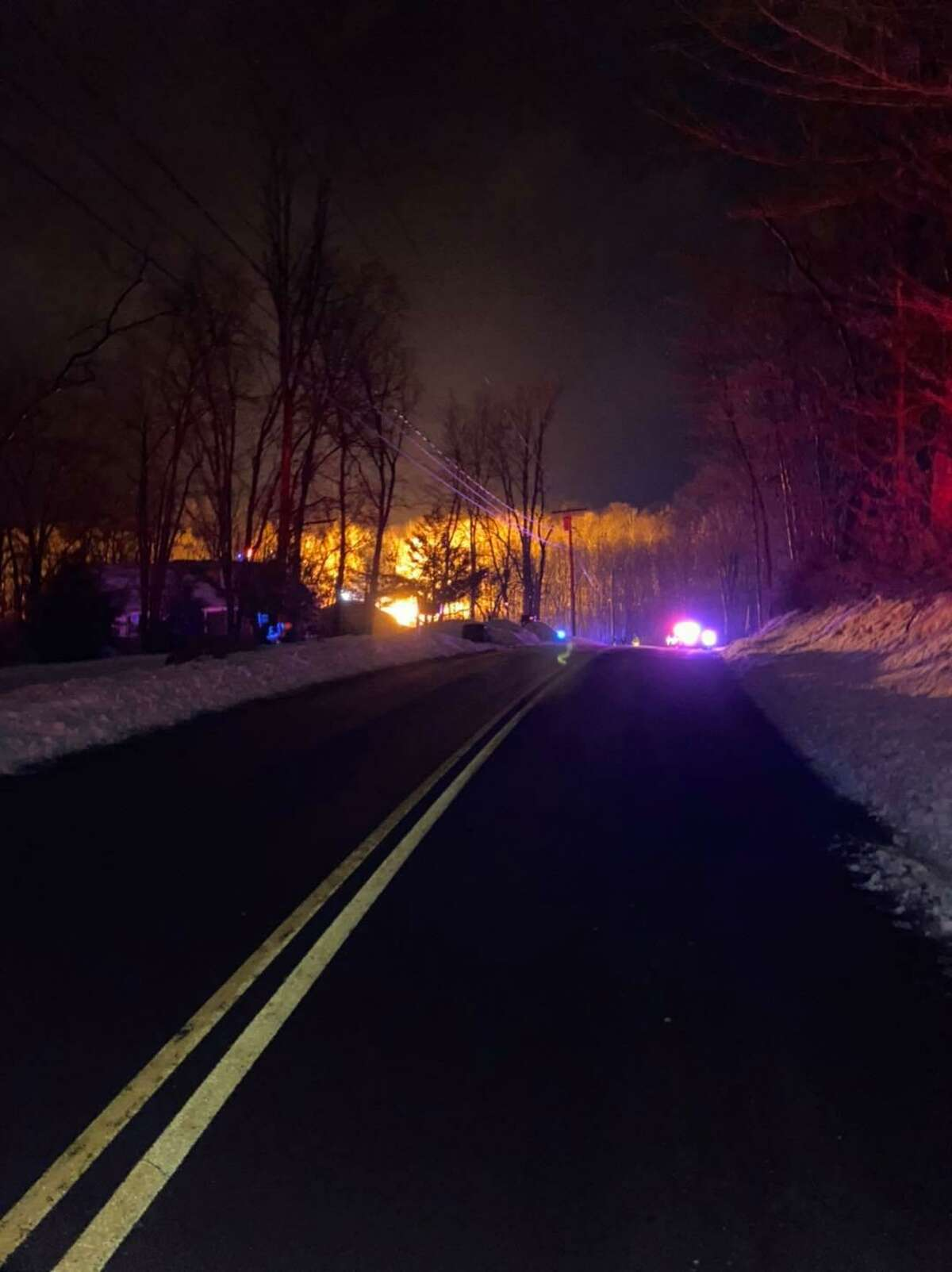 Part of Hillandale Road in Brookfield, Conn., was shut down Monday night following a fiery crash involving a pickup truck and telephone pole.