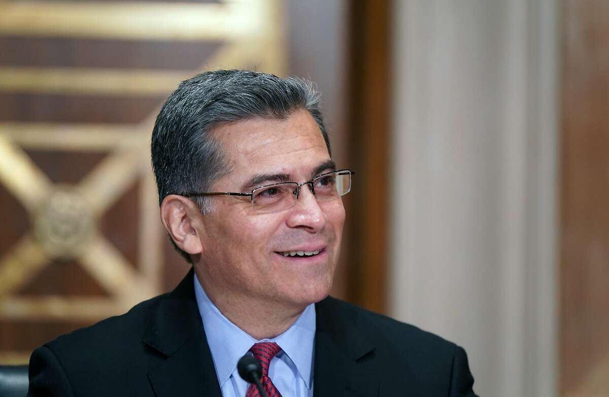 California Attorney General Xavier Becerra, President Biden's nominee for secretary of Health and Human Services, testifies at his confirmation hearing before the Senate Health, Education, Labor and Pensions Committee on Tuesday.