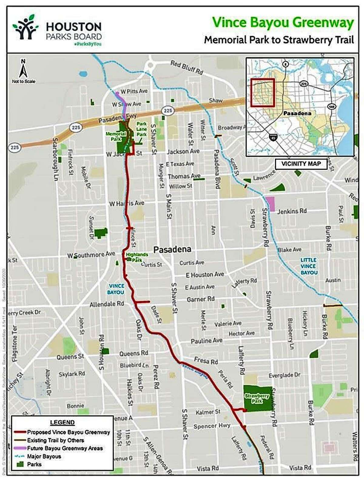 The Vince Bayou Trail Project would connect two of the city of Pasadena's largest parks.