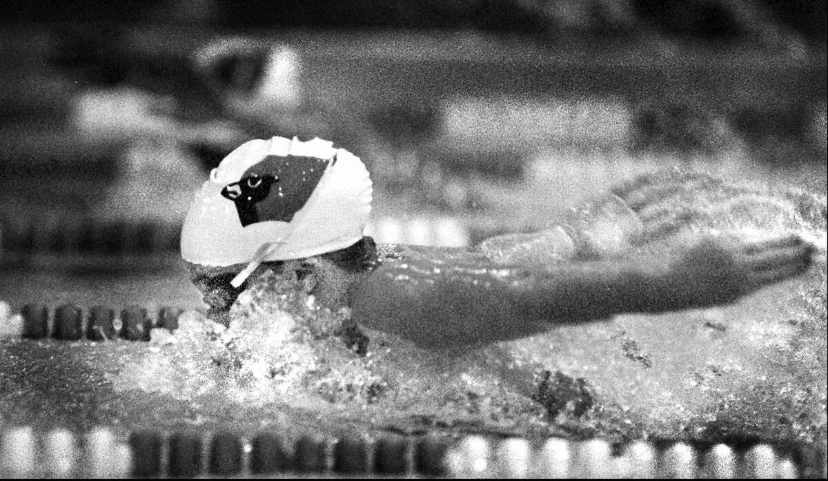 In a Greenwich High vs. Stamford High swim meet on Sept. 20, 1995, Greenwich takes second place in the 200-yard Individual Medley with a time of 2:28:74. Jen Psaki swims the butterfly leg.