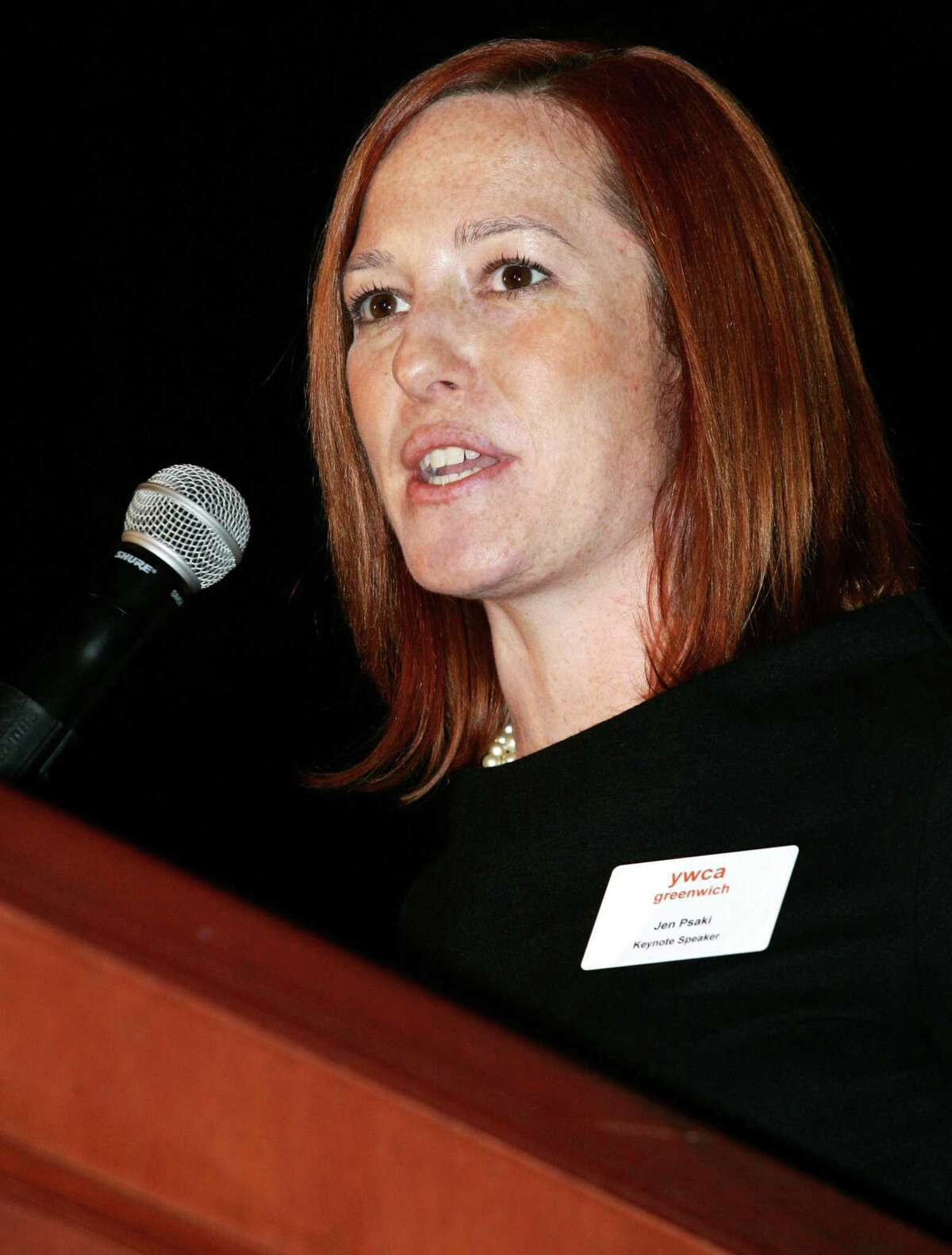 Greenwich High School graduate Jen Psaki. then the senior vice president and managing director of Global Strategy Group, gave the keynote address at the BRAVA awards, sponsored by the YWCA and held at the Hyatt Regency Greenwich on Friday, Feb. 3, 2012.