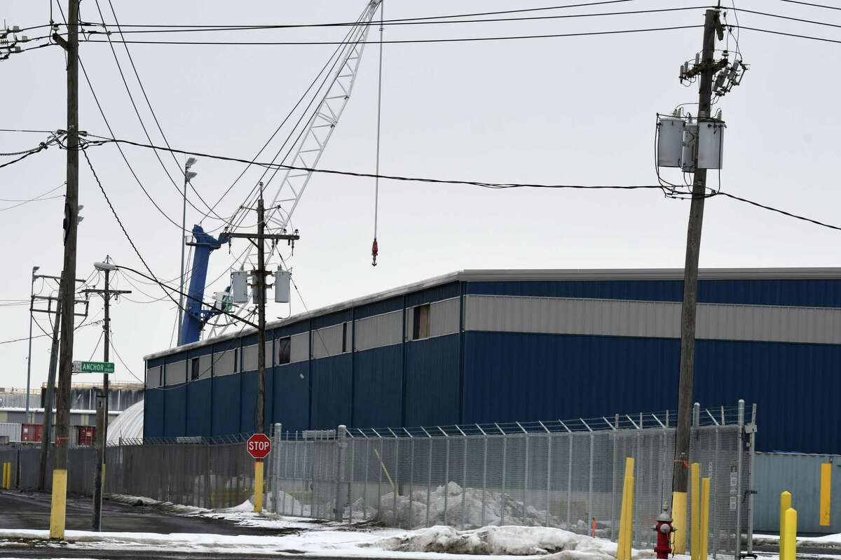 A new warehouse at the Port of Albany is nearing completion on Tuesday, Feb. 23, 2021, in Albany, N.Y. The port is undergoing an expansion as it prepares for an off-shore wind turbine assembly project. (Will Waldron/Times Union)