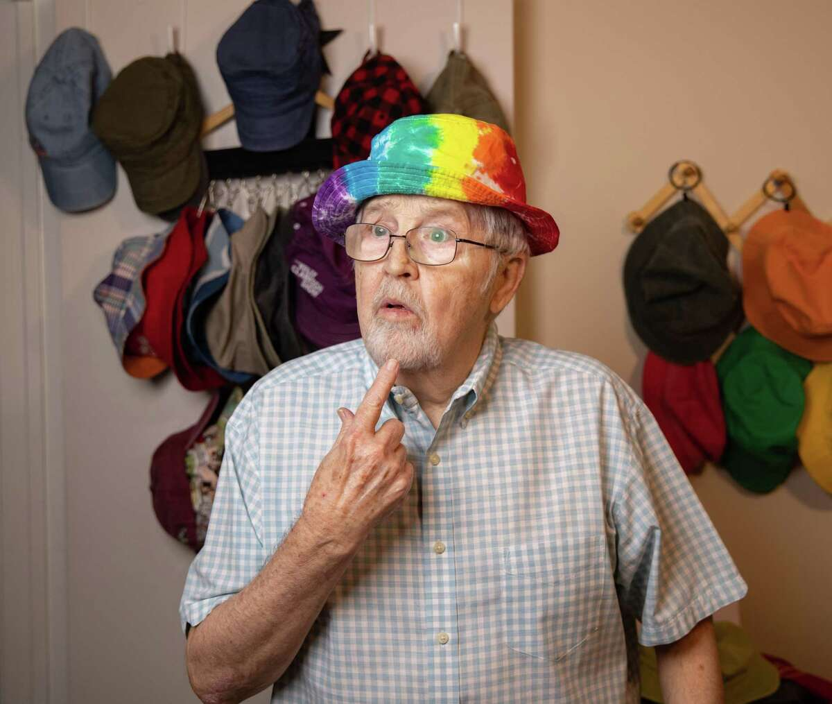 Stephen Austin, aka Old Man Steve on TikTok, poses for photos at his home in Richland Hills on Monday, Feb. 8, 2021. Austin is an 82-year-old TikTok star with over a million followers.